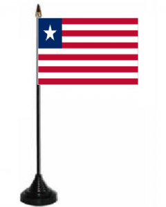 Liberia Desk / Table Flag with plastic stand and base.